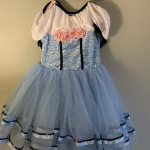 Weissman Blue Sequin & Flowers Ballet Costume